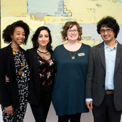 Left to Right: Whitney French (poet), Sheniz Janmohamed (poet), Anik Glaude (curator at Varley Art Gallery), Pushpa Raj Acharya (poet)